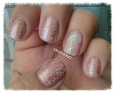 Soft romantic lace nails stamped over Nailtini Champagne and glitter accent nail for a little kick