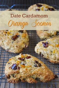 Date Cardamom Orange Scones ***Sub FF greek yogurt plus one egg for butter.-Wake up the flavours in your weekend brunch with these warmly spiced orange scones with pieces of sweet dates. They smell just incredible while baking too. Rock Recipes, Date Recipes, Orange Scones, Breakfast Recipes, Dessert Recipes, Scone Recipes, Breakfast Time, Muffin Recipes, Handmade Crafts