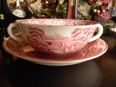 Red Transferware Rural England Cream Soup Bowl and Saucer Plate Rural English Sheep Scene