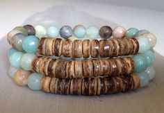 Beachy Shabby Chic SemiPrecious Stone Amazonite and Bamboo wooden beaded stretch bracelet by funkyouaccessories, $25.00