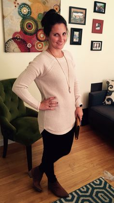 Stitch Fix - RD Style Rowca Scoop Neck Pull Over Sweater - Bay to Bubbles Ardie Stone Pendent Necklace - Liverpool Elizabeth super skinny jean - Seychelles Waypoint Boot
