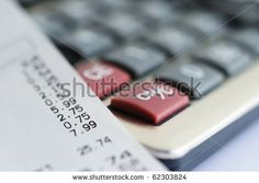stock photo : Bill from shop and calculator