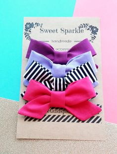 Fabric Bow Set by SweetandSparkle on Etsy