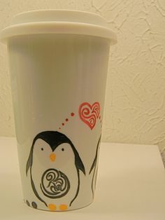 16oz. Valentines Penguin Customized and Personalized Made to Order Ceramic Porcelain Travel Mug, White Silicon Lid on Etsy, $21.00