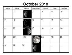 Moon Calendar October 2018 Moon Calendar 2018 October Moon Calendar October 2018 New Moon Calendar October 2018 Phases of the Moon Calendar 2018 October Related Full Moon Phases, Moon Phase Calendar, October, Template, Printable, Holidays, Holidays Events, Holiday, Vorlage