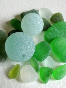 sea glass marbles...  I find these on a certain beach and it's such a treat!!!!  So many questions about where they come from