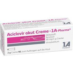 ACICLOVIR akut Creme 1A bei Lippenherpes:   Packungsinhalt: 2 g Creme PZN: 01664245 Hersteller: 1 A Pharma GmbH Preis: 2,27 EUR inkl. 19…