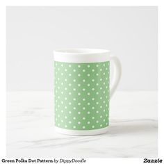 Green Polka Dot Pattern Tea Cup