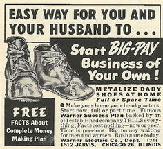 1950s ad: Metalize Baby Shoes at Home
