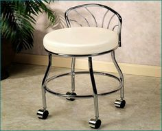 Flare Back Vanity Chair is a sleek, comfortable seat for the bath or dressing room. Hooded double casters swivel a full 360 degrees for easy mobility. Bathroom Vanity Chair, Vanity Seat, Vanity Chairs, Stool Chair, Diy Chair, Chair Cushions, Ikea Bank, Beach Lounge Chair, Cheap Adirondack Chairs