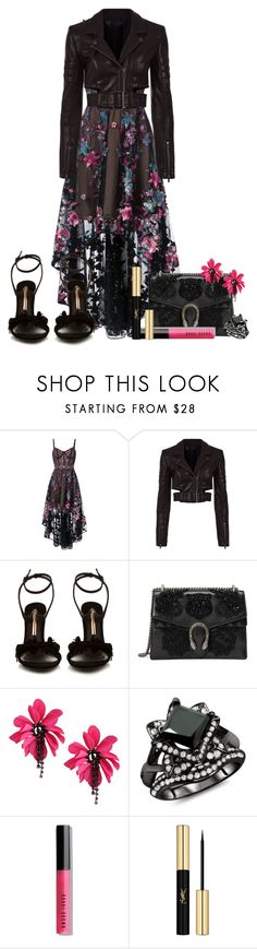 """Marchesa Dress"" by nitas-corner ❤ liked on Polyvore featuring Notte by Marchesa, Haider Ackermann, Sophia Webster, Gucci, Lanvin, Bobbi Brown Cosmetics and Yves Saint Laurent"