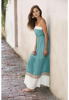 STRAPLESS COLOR BLOCK MAXI DRESS