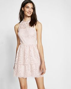 petite tiered lace fit and flare dress