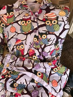 Nick Nora Lavender Owl Flannel Pajamas Hats Snow Ornaments Size Medium Purple #NickNora #PajamaSets #Everyday