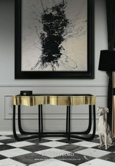 Today Modern Console Tables introduce you a beautiful selection of contemporary consoles for your luxury interior design projects. Interior Dorado, Gold Interior, Luxury Interior Design, Contemporary Interior, Interior Design Inspiration, Interior Decorating, Design Ideas, Design Projects, Interior Architecture