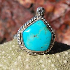Turquoise Ring - Blue Turquoise Ring - Genuine Turquoise - Sterling Silver Ring - Artisan Jewelry - Southwestern Ring - Size 9.5 Ring by EarthsBountyGems on Etsy