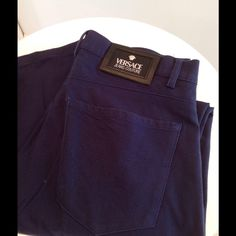 40f3c78dd47ef Versace Jeans Couture navy cotton jeans Versace Blue cotton jeans.  Signature leather patch on waistband
