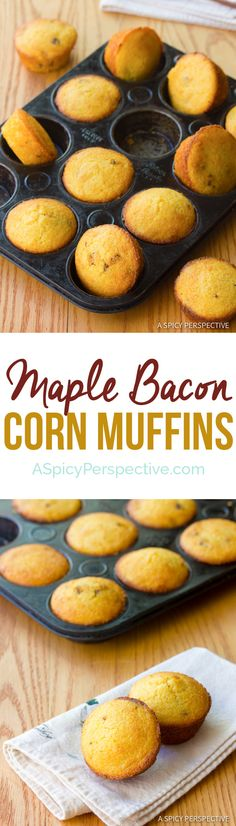 Maple Bacon Corn Muffins Recipe | ASpicyPerspective.com Will use almond or coconut milk and ghee instead of butter and milk