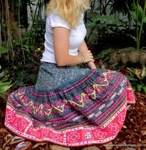 Hand Drawn Indigo Batik, Hemp and Colorful Embroidery.  Hmong Bohemian Style Skirt        Megan        A  fun,flirty skirt in a full style. Perfect for the eco loving fashion enthusiast. Siamese Dream Design ships worldwide. #boho #Hmong #Eco #fashion