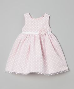 Marmellata Pink Polka Dot Ruffle Flower Dress - Infant