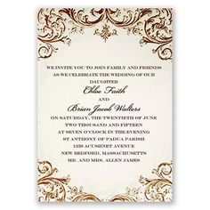 Love the vintage look? Here's the perfect wedding invitation for you! Beautiful filigree accents are printed in raised thermography ink. #VintageWedding #WeddingInvitations #DavidsBridal http://www.invitationsbydavidsbridal.com/Wedding-Invitations/Classic-Invitations/2947-DB7048-Vintage-Ivory--Invitation.pro?&sSource=Pinterest&kw=Vintage_DB7048