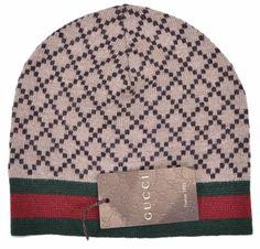 NEW Gucci Men's 295287 Brown Diamante Red Green Stripe Wool Beanie Hat Cap M #Gucci #Beanie