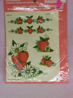 My mom had these and put them on EV. ER. EEE. THING.!!!  Meyercord Strawberry Decals  Decalart  Circa by FabVintageEstates, $7.00