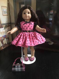 "pink and black polka dot dress, 18"" doll clothes, American Girl doll clothes, doll dress,  pink shoes, plaid handbag, cotton by MorgansCloset16 on Etsy"