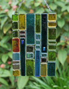 Teal Green Blue Purple Amber Fused Glass Suncatcher Home Decor, Garden Art, Outdoor Decor. $24.00, via Etsy.