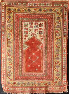 """1st half 19thc Melas prayer rug, Western Anatolia, in decent untouched condition. 3'5"""" x 4'8"""""""