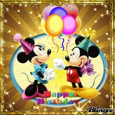 happy birthday mickey and minnie Happy Birthday Mickey Mouse, Birthday Wishes For Kids, Happy Birthday Celebration, Happy Birthday Pictures, Happy Birthday Messages, Animated Birthday Greetings, Mickey E Minie, Illustration Mignonne, Happy Anniversary Wishes
