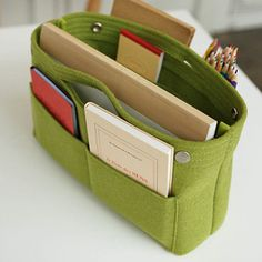 Felt Bag-in-Bag modern storage and organization  I don't wear bags but maybe I could use one of these in my backpack