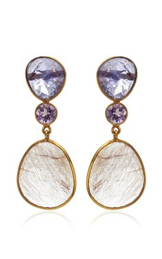 One Of Kind 18K Yellow Gold Tanzanite Amethyst And Rutilated Quartz Earrings by Bahina for Preorder on Moda Operandi