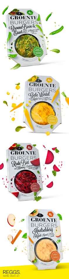 An attractive vegetable burger packaging design that stands out on shelf  Design Agency: REGGS Country: The Netherlands