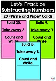 "This product includes 20 ""write and wipe"" cards for subtracting numbers. For each card, students are asked to build a ce 2nd Grade Classroom, 1st Grade Math, Kindergarten Math, Teaching Math, Second Grade, Teaching Ideas, Grade 2, Hands On Activities, Math Activities"