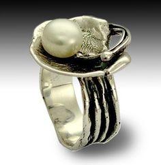 Silber-Ring Zigeuner Ring Stein-Ring Perle