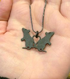 Fuzzbumdesigns Rat necklace, Bronze Steel, love heart, rat lover, ratties, rat jewellery, 3D printed, statement necklace 3D printed standing RAT love heart pendant with chain or leatherette/suede hanger. ORDER NOW AND YOUR ITEM WILL BE MADE AND POSTED IN 3 WEEKS! All 3D printed non