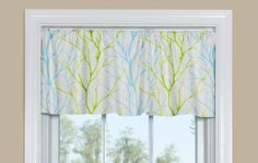 Kitchen Valance With Tree Branch Pattern in Blue and Green