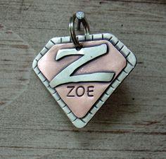 Custom dog tag- Super Pooch Id tag in copper. $25.00, via Etsy.
