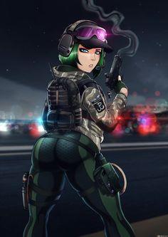 Shadman's Rainbow Six Siege Ela Bosak Anime Sensual, Anime Sexy, Thicc Anime, Anime Comics, Rainbow Six Siege Anime, Rainbow 6 Seige, Rainbow Six Siege Memes, Anime Military, Military Girl