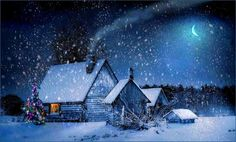 Merry Christmas at home Winter Night, Winter Art, Winter Time, Christmas Lodge, Christmas Night, Vintage Christmas, Christmas Crafts, Merry Christmas, Winter Images