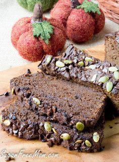 Sugar Free Low Carb Chocolate-Pumpkin-Bread-nut free, grain free, gluten free- sugarfreemom.com