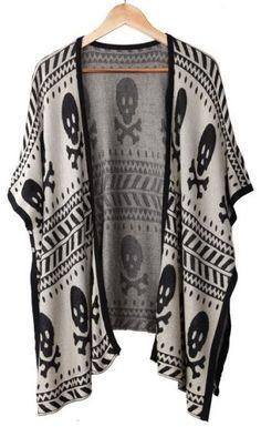 Skull Pattern Cardigan Sweater