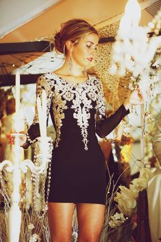 Black dress with white overlay lace