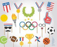 Kids Olympics, Usa Olympics, Special Olympics, Winter Olympics, Olympic Crafts, Olympic Games, Photo Booth Party Props, Hawaian Party, Olympic Logo