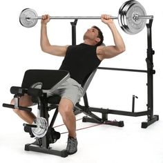 Olympic Weight Bench Set Press Fitness Home Gym Workout Strength Training# Weight Lifting Motivation, Weight Lifting Workouts, Easy Workouts, At Home Workouts, Exercise Motivation, Adjustable Bench Press, Adjustable Weight Bench, Power Tower Workout, Weight Bench Set