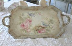 Shabby Vintage Bluebirds Roses and Nest Handled Tray - DebiCoules.com
