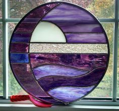 """Sun and Moon over Water """"Purple Majesty II"""" color combo. This is a custom piece, but can be made for you too--see my shop www.stainedglassyourway.etsy.com to purchase"""