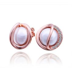 plated 18K rose gold inlaid glass ball stud earrings.#earrings #jewelry #AEKK