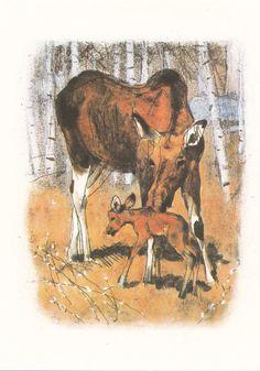 "G. Nikolsky ""Edge of the woods"" Print, Postcard -- 1988, Soviet Artist Publ."